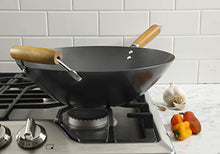 Load image into Gallery viewer, Kenmore Hammond Flat Bottom Carbon Steel Wok, 14-inch, Black