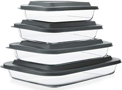 8-Piece Deep Glass Baking Dish Set with Plastic lids,Rectangular Glass Bakeware Set with BPA Free Lids, Baking Pans for Lasagna, Leftovers, Cooking, Kitchen, Freezer-to-Oven and Dishwasher