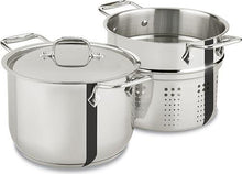Load image into Gallery viewer, All-Clad E414S6 Stainless Steel Pasta Pot and Insert Cookware, 6-Quart, Silver -