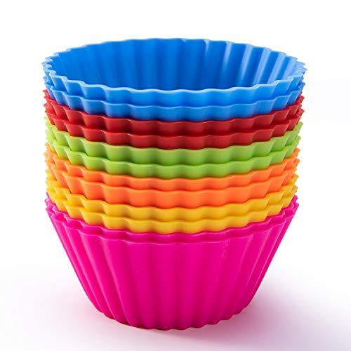 Silicone Baking Cups, Reusable Cupcake Liners Nonstick Muffin Cups Cake Molds Cupcake Holder, 12 Packs in 6 Rainbow Colors - PHUNUZ