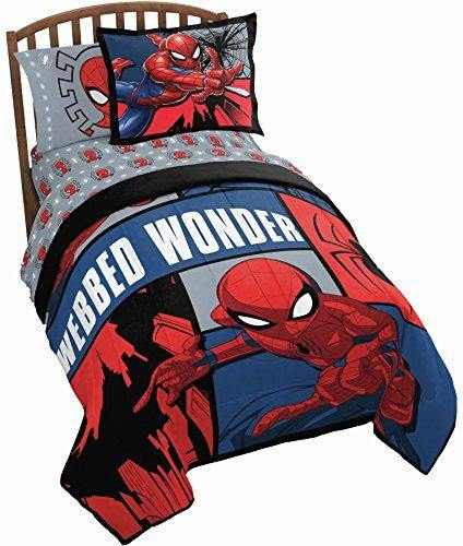 Jay Franco Marvel Spiderman Webbed Wonder 5 Piece Twin Bed Set - Includes Comforter & Sheet Set - Bedding Features Spiderman - Super Soft Fade Resistant Polyester - (Official Marvel Product) - PHUNUZ