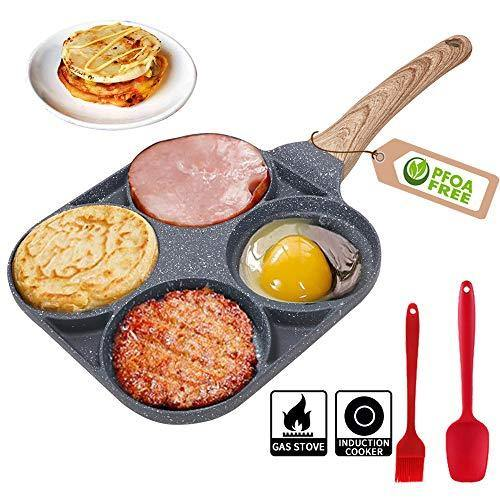4 Cup Egg Frying Pan - Non Stick Egg Pans Divided Egg Cooker Frying Pan - Aluminium Alloy Fried Egg Burger Pan for Breakfast,Pancake,Poached Egg - PHUNUZ