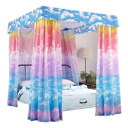 Mengersi Pink Cloud Sky Rainbow Canopy Bed Curtains Bed Drapes for Princess Kids Girls Full Size Bed - PHUNUZ