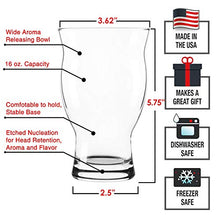 Load image into Gallery viewer, USA Made Nucleated Tulip Pint Glasses for Better Head Retention, Aroma and Flavor- 16 oz Ultimate Pint Glass for Beer Drinking- IPA Beer Glasses For Men- Cool Beer Glass Stackable Design- 4 Pack