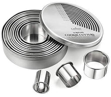 Load image into Gallery viewer, Round Cookie Biscuit Cutter Set, 12 Graduated Circle Pastry Cutters, Heavy Duty Commercial Grade 18/8 304 Stainless Steel Cookie And Dough Cutters - PHUNUZ