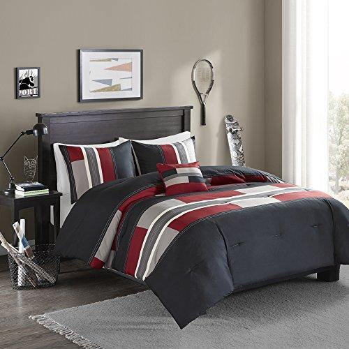 Comfort Spaces Pierre Comforter Set All Season Ultra Soft Hypoallergenic Microfiber Pipeline Boys Dormitory Bedding, Queen, Stripe Black/Red - PHUNUZ