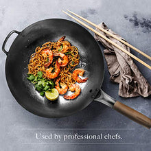 Load image into Gallery viewer, Round Bottom 14-inch Traditional Carbon Steel Wok Pan - Authentic Hand Hammered Woks and Stir Fry Pans - Pow Wok with no chemical coating by Mammafong…