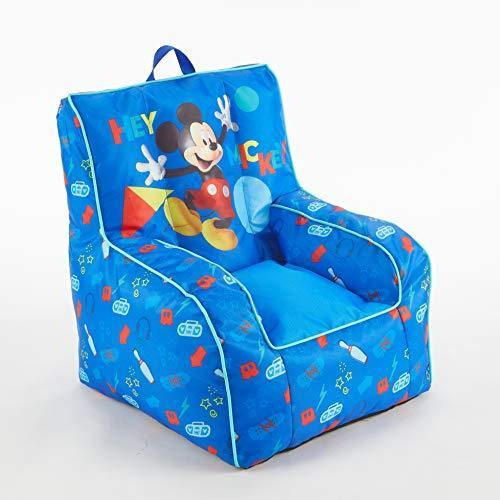 Disney Mickey Mouse Kids Nylon Bean Bag Chair with Piping & Top Carry Handle - PHUNUZ