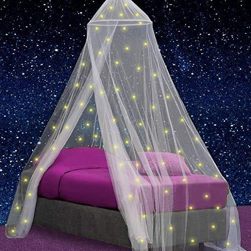 Canopy for Girls Bed with Pre-Glued Glow in the Dark Stars - Princess Mosquito Net Room Decor - Kids & Baby Bedroom Tent with Galaxy Lights - 1 Opening Canopy Bed & Hanging Kit Included - PHUNUZ