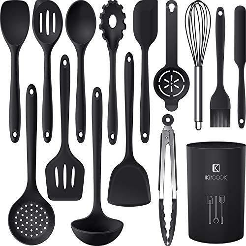 Silicone Cooking Utensils Set - 446°F Heat Resistant Kitchen Utensils,Turner Tongs,Spatula,Spoon,Brush,Whisk.Kitchen utensil Gadgets Tools Set for Nonstick Cookware.Dishwasher Safe (BPA Free) - PHUNUZ