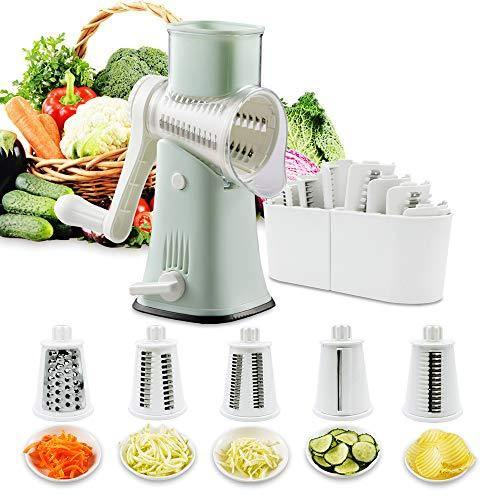 Rotary Graters 5 in 1 Cheese Grater-VEKAYA Kitchen Mandoline Slicer Easy Clean with non-broken strong handheld Julienne Shredder Waffle Slicers for Fruit Vegetables Nuts French Fries (green) - PHUNUZ