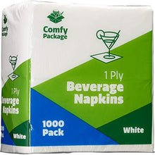 Load image into Gallery viewer, White Beverage Napkins 1-Ply [1000 Pack], Bulk Cocktail Napkins, Restaurant Paper Napkins