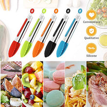 Load image into Gallery viewer, 7 Inch Silicone Tongs Mini Kitchen Tongs with Silicone Tips Small Serving Tongs Stainless Steel Cooking Tongs for Salad, Grilling, Frying and Cooking (Black, Red, Blue, Orange, Green, 5 Pieces)