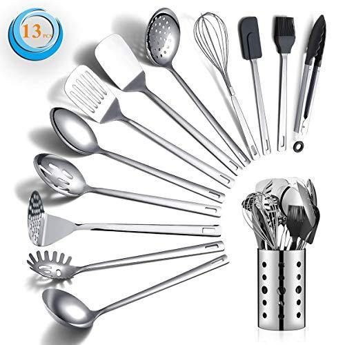 Stainless Steel Cooking Utensils Set, Berglander 13 Pieces Kitchen Utensils Set, Kitchen Tools Set With Utensil Holder Non-Stick And Heat Resistant,Dishwasher Safe, Easy to Clean (13 Packs) - PHUNUZ