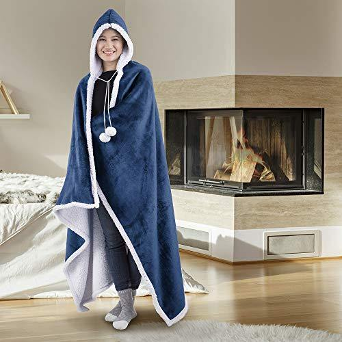 Safdie & Co. Hooded Blanket Throw Wearable Cuddle 100% Polyester China Blue - PHUNUZ