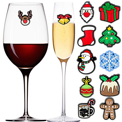 Aneco 12 Pieces Christmas Magnetic Wine Glass Charms Cocktail Markers Christmas Wine Glass Drink Markers Glass Goblet Drink Markers for Christmas Party