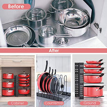 Load image into Gallery viewer, Pan Organizer Rack for Cabinet, Pot Rack with 3 DIY Methods, Adjustable Pots and Pans Organizer under Cabinet with 8 Tiers, Large & Small Pot Organizer Rack for Cabinet Kitchen [Upgrade Version]