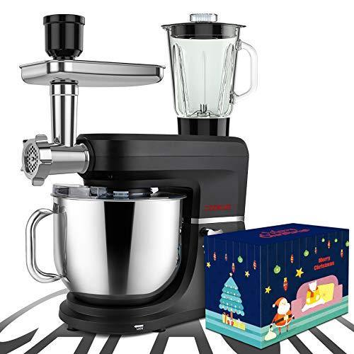 COOKLEE 6-IN-1 Stand Mixer with Christmas Box, 9.5 Qt. Multifunctional Electric Kitchen Mixer with 9 Accessories for Most Home Cooks, SM-1507BM, Nero Nemesis Black - PHUNUZ