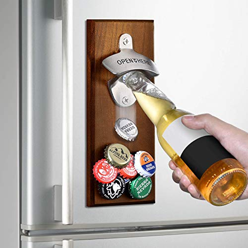 Gifts for Men Dad, Wall Mounted Magnetic Bottle Opener, Unique Beer Gift Ideas for Him Boyfriend Husband Grandpa Uncle, Cool Gadgets Christmas Stocking Stuffers, Birthday Housewarming Anniversary