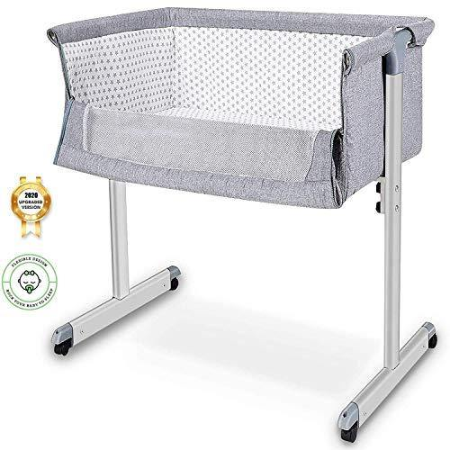 Baby Bassinet, Baby Bedside Sleeper, Newborn Baby Crib, w/Detachable & Washable Mattress, Easy Folding Movable Cradle for Newborn Infants, Bed Height Adjustable, Breathable Mesh (Dark Grey) - PHUNUZ