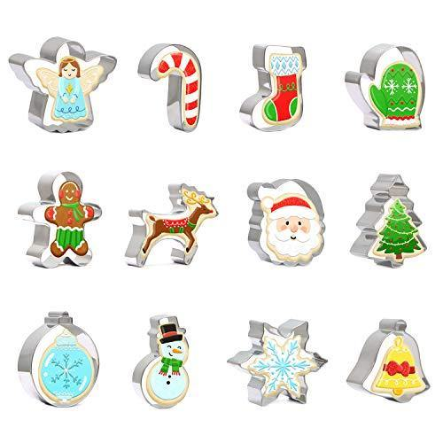 Christmas Cookie Cutter Set 12 PCS Santa Claus Snowman Gingerbread Man Reindeer Candy Cane Snowflake Christmas Tree Biscuit Fondant Cutters Stainless Steel for Holiday Xmas Party Baking Gift - PHUNUZ