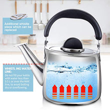 Load image into Gallery viewer, M-MAX Stainless Steel Tea Kettle Stovetop Whistling Teakettle Teapot with Ergonomic Handle -3QT (3L)