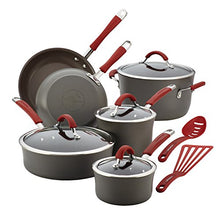 Load image into Gallery viewer, Rachael Ray Cucina Hard Anodized Nonstick Cookware Pots and Pans Set, 12 Piece, Gray with Red Handles