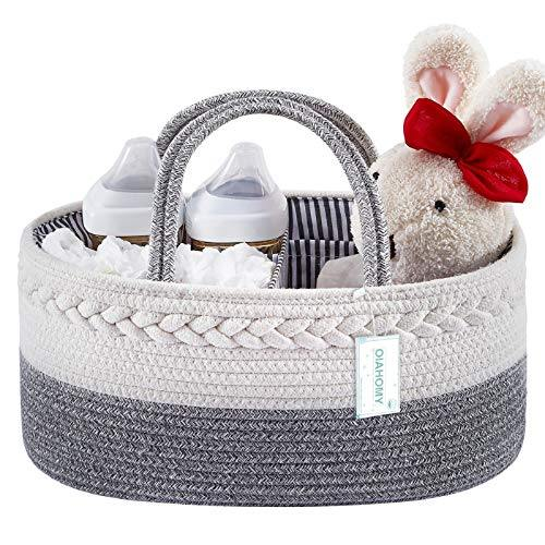 Baby Diaper Caddy Organizer-Baby Basket with Removable Divider Portable Tote Bag for Changing Table & Cars, Cotton Rope Basket Baby Shower Basket, Newborn Must Haves - PHUNUZ