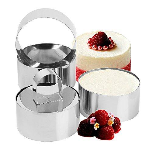 Set of 4 - Round Stainless Steel Small Cake Rings, Mousse and Pastry Mini Baking Ring Mold with Pusher - PHUNUZ
