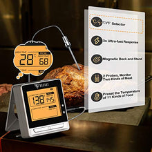 Load image into Gallery viewer, DOQAUS Bluetooth Wireless Meat Thermometer for Grilling, Digital Food Thermometer with 2 Probes, 197ft Remote Cooking Thermometer with Smart Kitchen Timer and Backlight for Smoker, Oven, Grill, BBQ