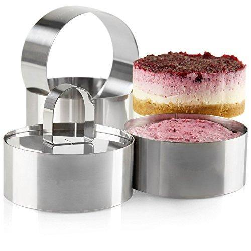 Uncle Jack Professional Stainless Steel Food Tower Presentation Cooking Rings with Food Press-Round Forms(Set of 2) - PHUNUZ