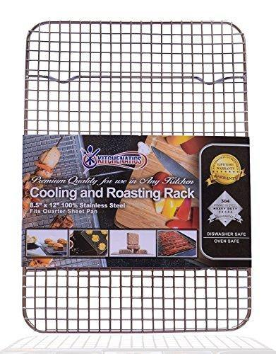 KITCHENATICS Quarter Sheet 100% Stainless Steel Roasting & Cooling Rack, 1/4 Sheet Rust Proof Rack with Patent-Pending Multiple Welds, Thick Wire Grid, Use for Oven & Grill, Non-Toxic, 8.5