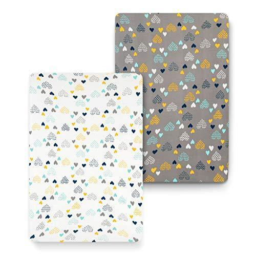 COSMOPLUS Stretch Fitted Pack n Play Playard Sheets - 2 Pack for Mini Crib Sheet Set,Pack n Play Mattress Cover, Ultra Stretchy Soft,Heart Pattern - PHUNUZ