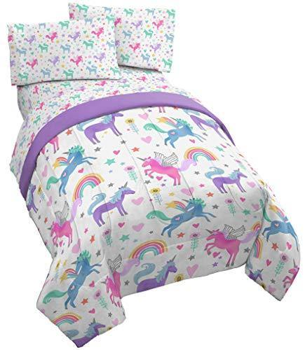 Jay Franco Unicorn Rainbow 4 Piece Twin Bed Set - Includes Comforter & Sheet Set - Super Soft Fade Resistant Microfiber - PHUNUZ