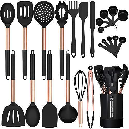 Silicone Cooking Utensil Set, Fungun 24pcs Silicone Cooking Kitchen Utensils Set, Non-stick Heat Resistant - Best Kitchen Cookware with Copper Stainless Steel Handle - Black(BPA Free, Non Toxic) - PHUNUZ