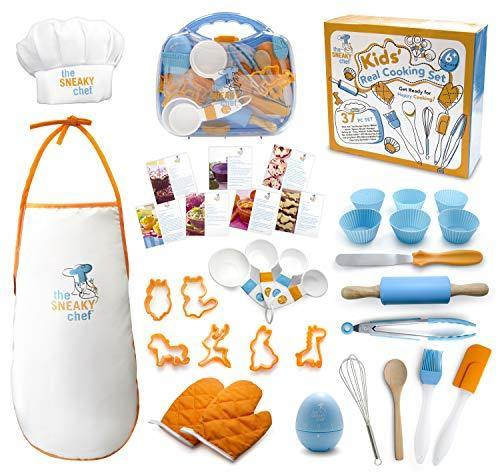 The Sneaky Chef Kids Cooking/Baking Set 37 Piece BPA Free, Child-Safe Essential Junior Utensils, Cooking Protection, Storage Case, Cookie Cutters, and 7 Healthy Recipe Cards - Ages 6+ Years - PHUNUZ