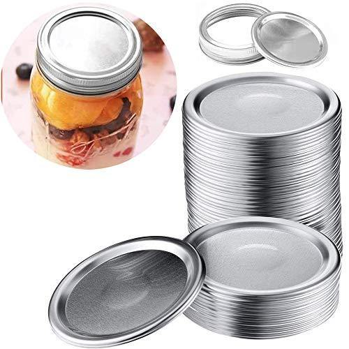 24 Wide mouth Canning Lids, Lids for Mason Jar Canning Lids ,Split-Type Lids Leak Proof and Secure Canning Jar Caps (Silver)(Wide mouth) - PHUNUZ