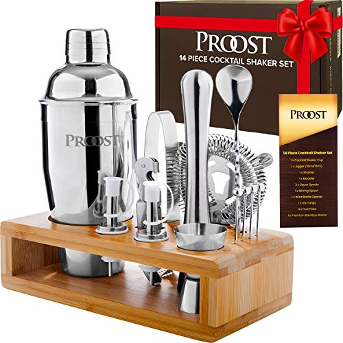 Proost 14-piece Cocktail Shaker Set with Stand & Drink Recipe Booklet: Bartender Kit | Perfect Bar Set/Cocktail Set for Home with All Essential Bar Tools | Bartender Set