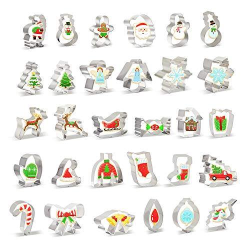 30 PCS Christmas Cookie Cutter Set Christmas Tree and More Biscuit Fondant Cutters Stainless Steel for Holiday Cookies, Christmas Party and Baking Gift - PHUNUZ