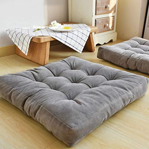 HIGOGOGO Solid Square Seat Cushion, Tufted Thicken Pillow Seat Corduroy Chair Pad Tatami Floor Cushion for Yoga Meditation Living Room Balcony Office Outdoor, Grey, 22x22 Inch - PHUNUZ