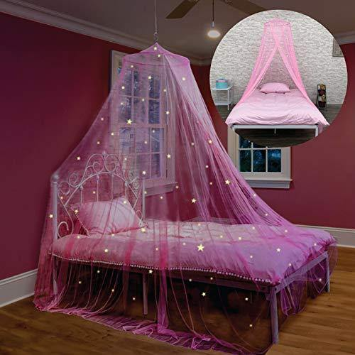 Bed Canopy with Glow in The Dark Stars for Girls, Kids and Babies, Anti Mosquito Net Use to Cover The Baby Crib, Kid Bed, Girls Bed Or Full Size Bed, Fire Retardant Fabric - PHUNUZ