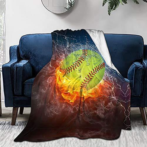 King Dare Fire Softball Fleece Sofa Blanket, Lightweight Travel Blanket, Cozy Plush Keep Warm Flannel Small Throws Blankets for Baby/Kids/Youth 40x50 inch - PHUNUZ