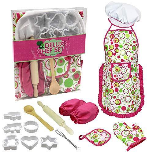 Sovoadur Kids Baking Set Chef-Costume - Apron, Hat and Cooking Set, Easter Birthday Christmas Xmas Gifts for Girls 3 4 5 6 7 8 Year Old (Pink 15pcs) - PHUNUZ