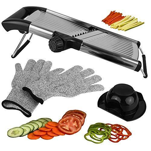 Mandoline Slicer Vegetable Potato Slicer, Julienne Slicer, Onion Cutter, With Stainless Steel Adjustable Blade. Cut Resistant Gloves Included. - PHUNUZ