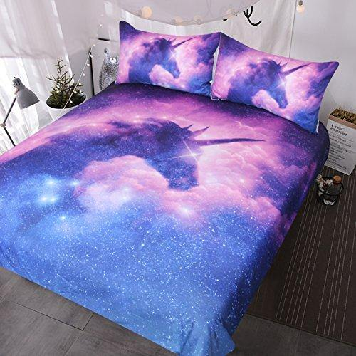 BlessLiving Purple Galaxy Unicorn Bedding Set Twin Duvet Cover for Kids Girls Psychedelic Space Unicorn Bedset 3 Piece Pink Purple Sparkly Unicorn Bedspread Psychedelic Duvet Comforter Cover - PHUNUZ