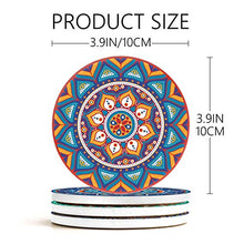 Load image into Gallery viewer, Teivio Absorbing Stone Mandala Coasters for Drinks Cork Base, with Holder, for Friends, Men, Women, Funny Birthday Housewarming, Apartment Kitchen Room Bar Decor, Suitable for Wooden Table, Set of 8