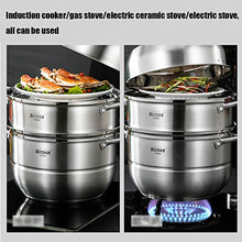 Load image into Gallery viewer, Steamer Pot with Transparent lid, 3 Tier 11 inch Big 304 Stainless Steel Steamer Cookware Pot Saucepot Multi-layer Boiler Steaming