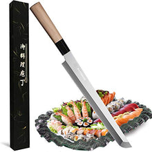Load image into Gallery viewer, Waterboss,10.6 inch (270mm) Sakimaru Knife Japanese Sushi Chef Knife Salmon Knife Slicer Razor Sharp Sashimi Watermelon Knives, 5Cr15mov Stainless Steel Sashimi Yanagiba Knife, Maple Handle,