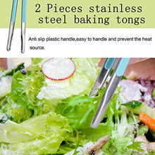 Load image into Gallery viewer, Lamoutor 2Pcs Meat Tongs Stainless Steel Ice Tongs Baking Tongs Food Cooking Tongs with Plastic Handle 9 Inch