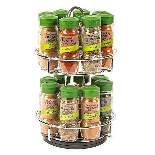 McCormick Gourmet Two Tier Chrome 16 Piece Organic Spice Rack Organizer with Spices Included, 15.41 oz - PHUNUZ